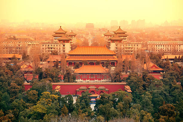 Aerial View of Beijing Aerial view of Beijing with historical architecture, China. forbidden city stock pictures, royalty-free photos & images