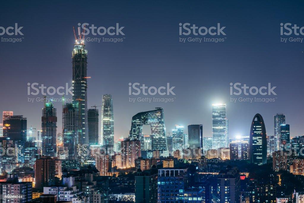Aerial View of Beijing Skyline at Night stock photo