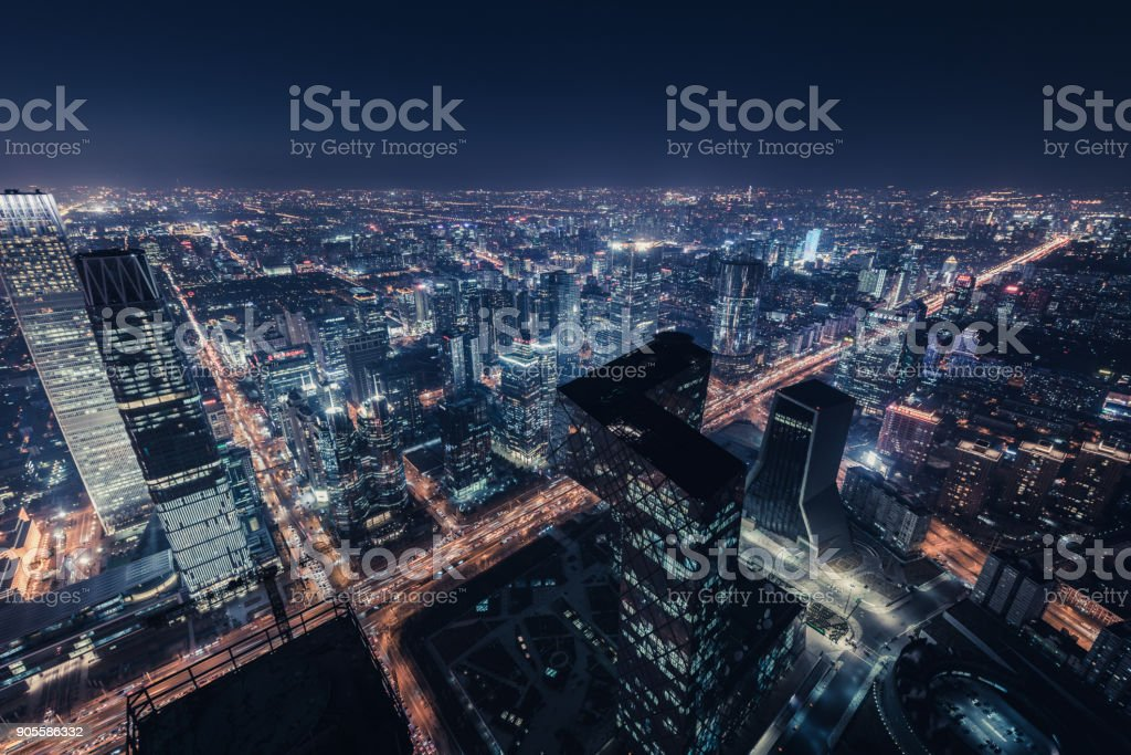Aerial View of Beijing Skyline at Night stock photo