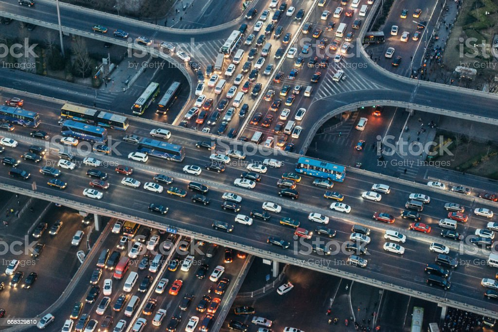 Aerial View of Beijing Traffic Jam at Dusk stock photo