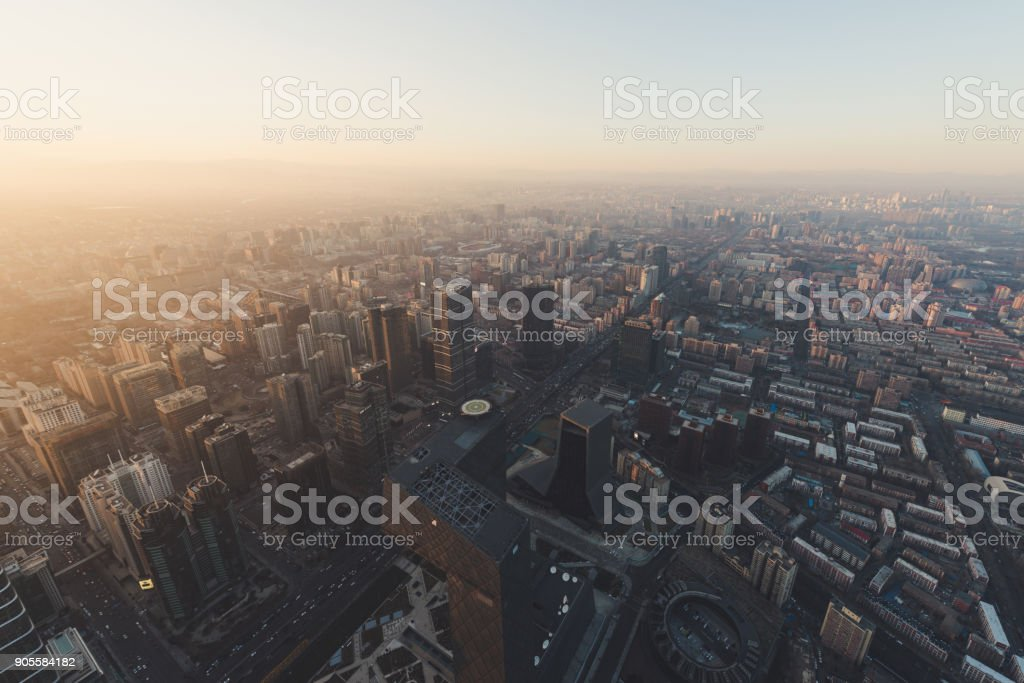 Aerial view of Beijing Urban Skyline at Sunset stock photo