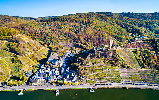 Aerial view of Beilstein town with Metternich Castle at the Moselle River in Germany