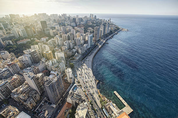 aerial view of beirut lebanon, city of beirut - beirut 뉴스 사진 이미지
