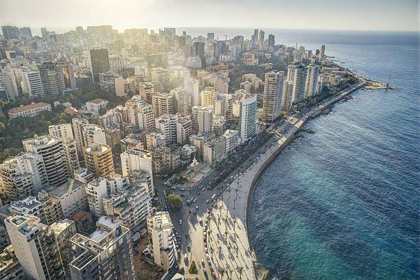 aerial view of beirut lebanon, city of beirut - beirut foto e immagini stock