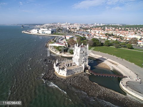 Aerial View of Belem Tower, Lisbon, Portugal