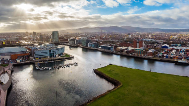 Aerial view of Belfast in autumn stock photo