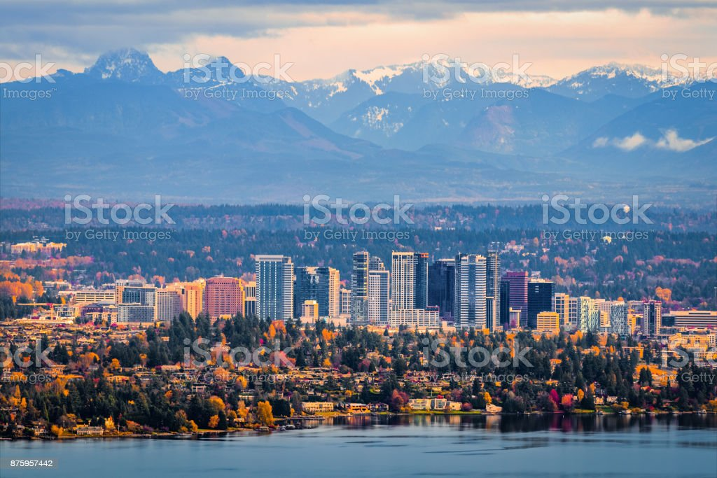 Aerial view of Bellevue, Washington stock photo