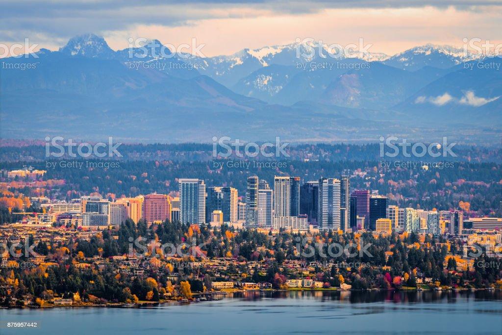 Aerial View Of Bellevue Washington Stock Photo