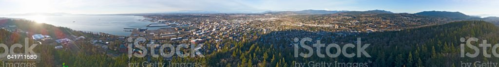 360 Aerial View of Bellingham, Washington State stock photo