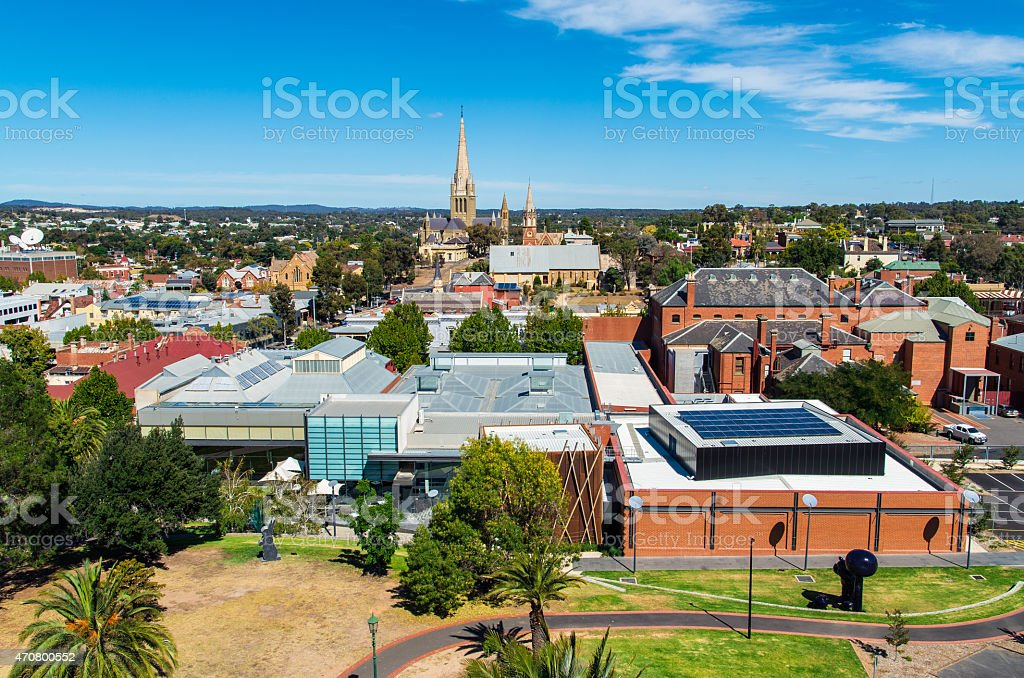 Aerial view of Bendigo Art Gallery in Australia stock photo