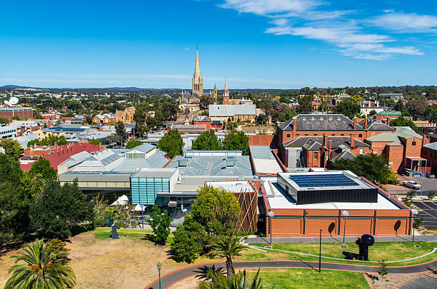 Aerial view of Bendigo Art Gallery in Australia stock photo