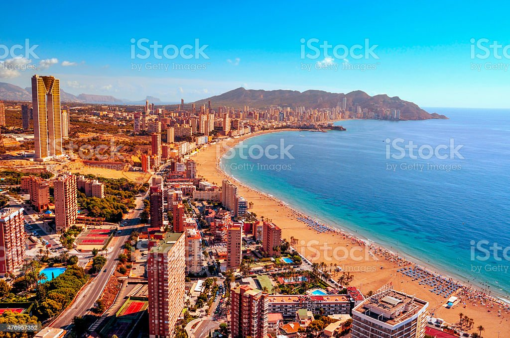 aerial view of Benidorm, Spain stock photo