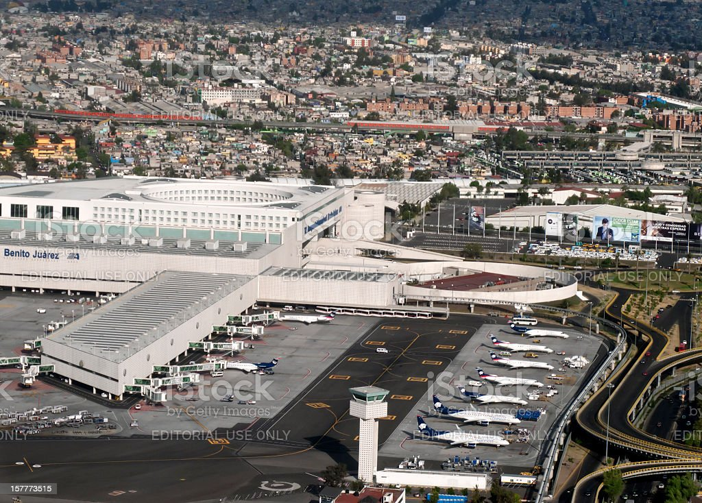 Aerial view of Benito Juarez Airport, Mexico City stock photo