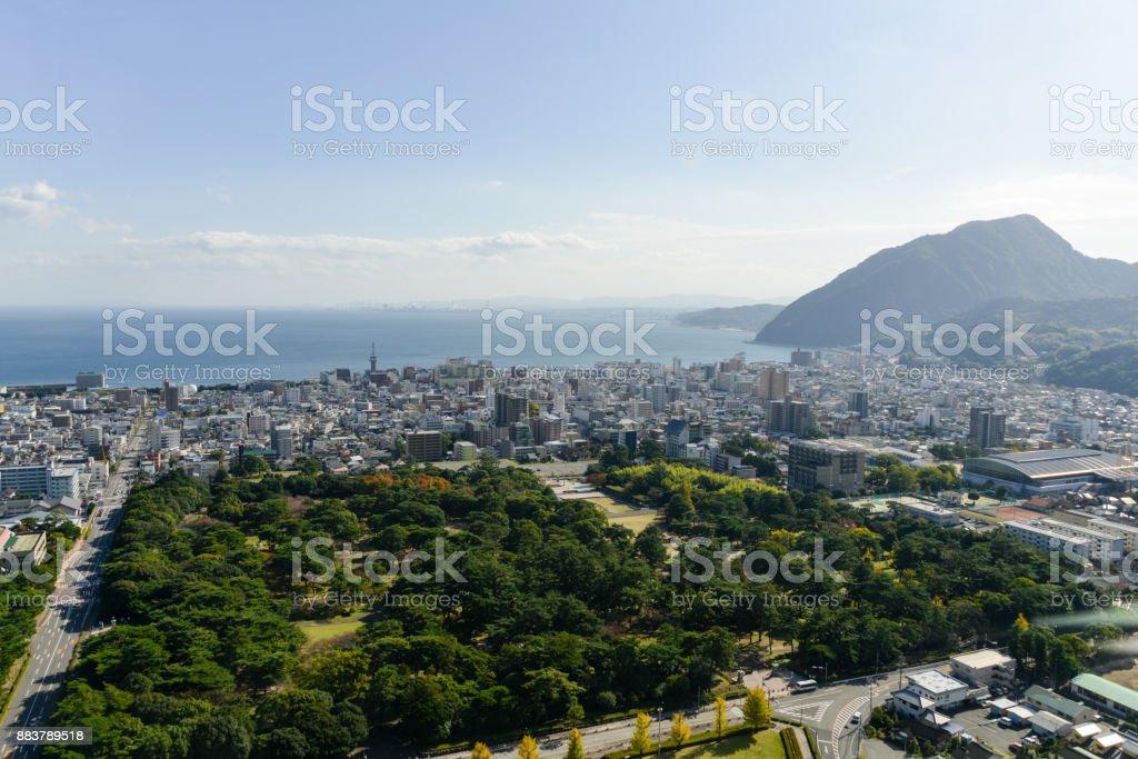 Aerial view of Beppu City in Oita, Japan stock photo