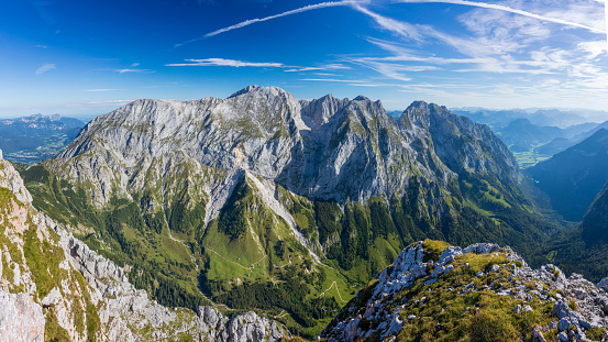 Aerial panorama of Berchtesgaden mountain with Mount Hoher Göll in background
