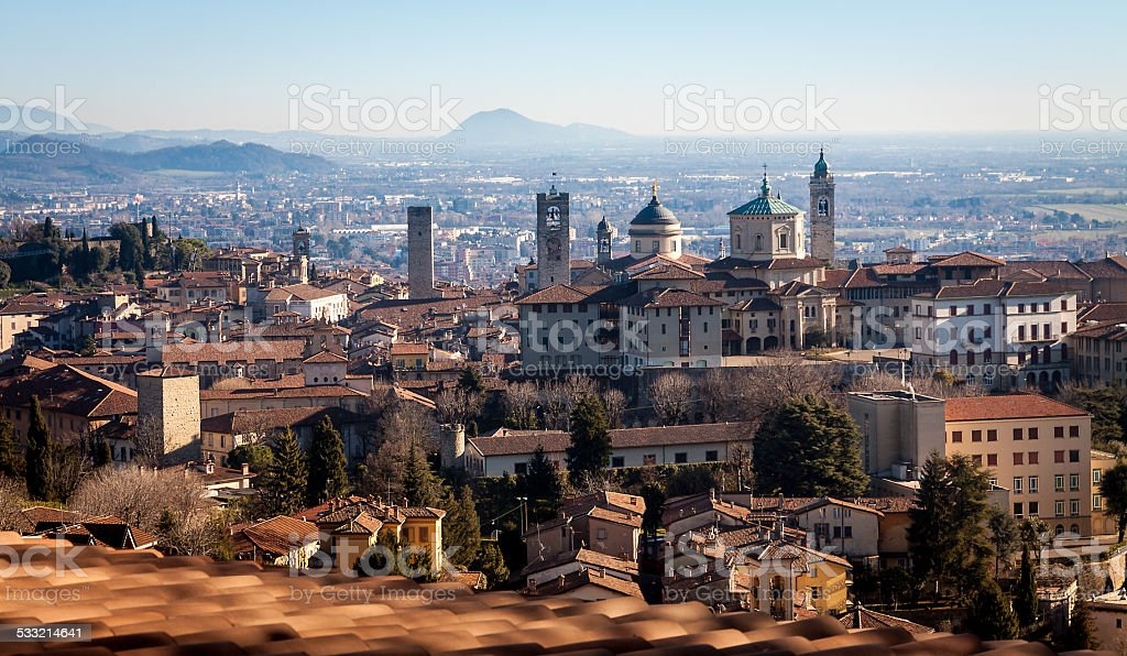 Aerial view of Bergamo stock photo