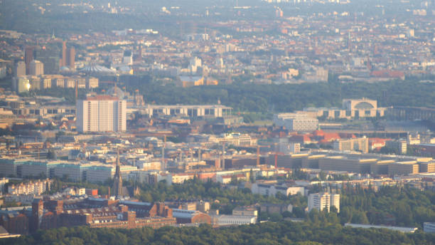 Aerial view of Berlin capital of Germany - view from the airplane stock photo