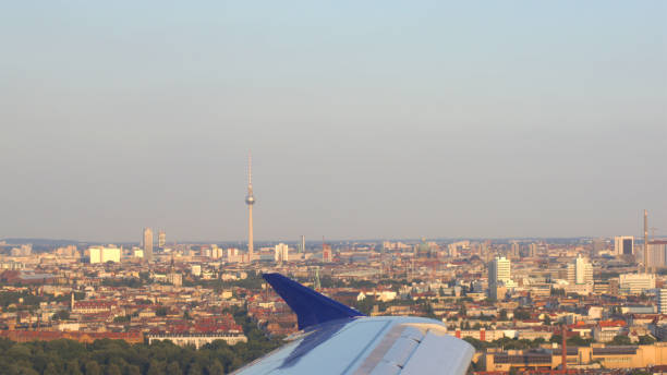 Aerial view of Berlin capital of Germany - wing view from the airplane stock photo