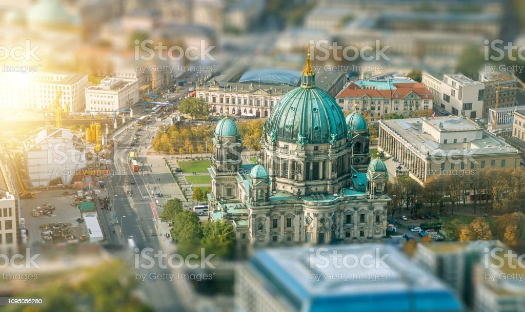 Aerial View of Berlin Cathedral in Germany stock photo