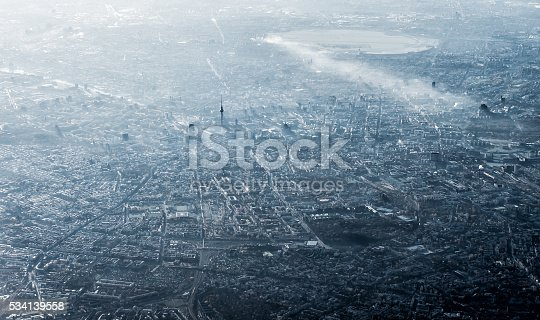 Aerial view of Berlin, Germany, monochromatic in smog and sun