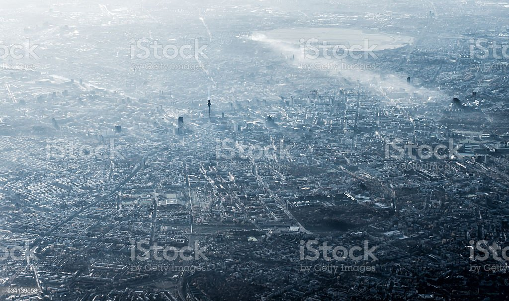 Aerial view of Berlin, Germany, monochromatic in smog and sun stock photo