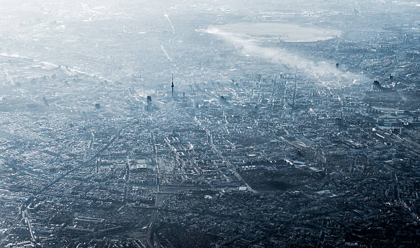 aerial view of berlin, germany, monochromatic in smog and sun - berlin street bildbanksfoton och bilder