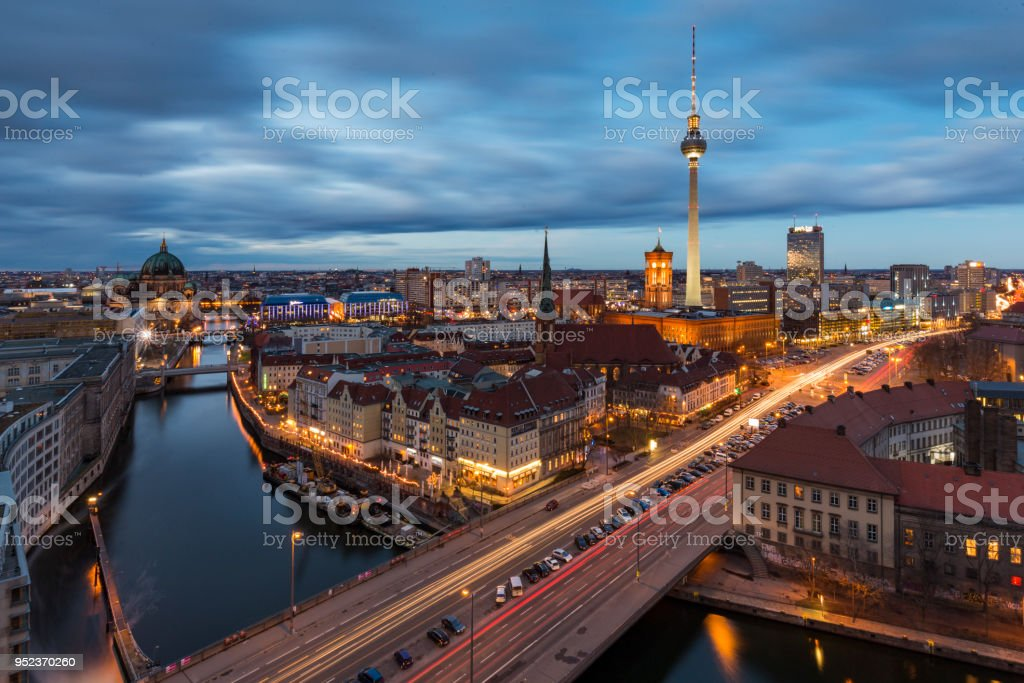Aerial view of Berlin Mitte and Alexanderplatz stock photo