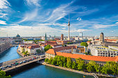 istock Aerial view of Berlin skyline with Spree river in summer, Germany 652653034
