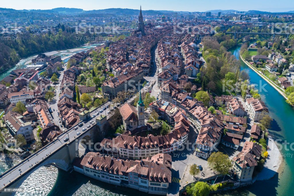 Aerial view of Bern old town stock photo