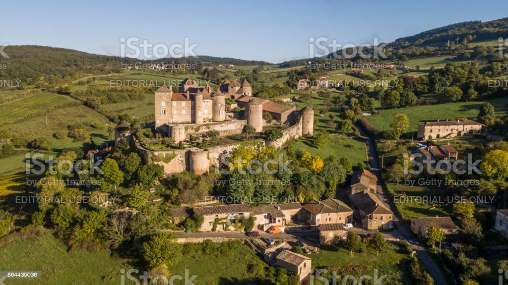 Aerial view of Berze castle, the biggest and oldest fortress in South Burgundy stock photo