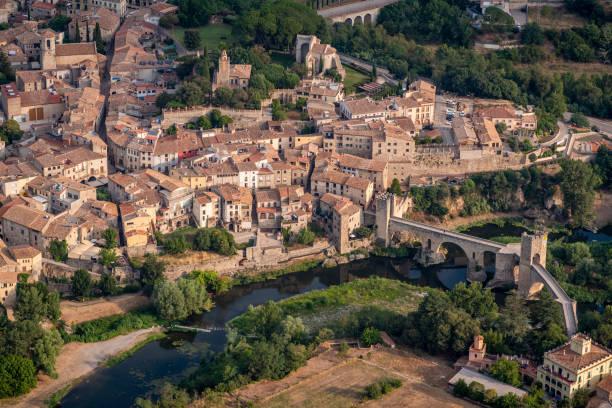 aerial view of Besalu, La Garrotxa, Gerona province, Catalonia, Spain stock photo