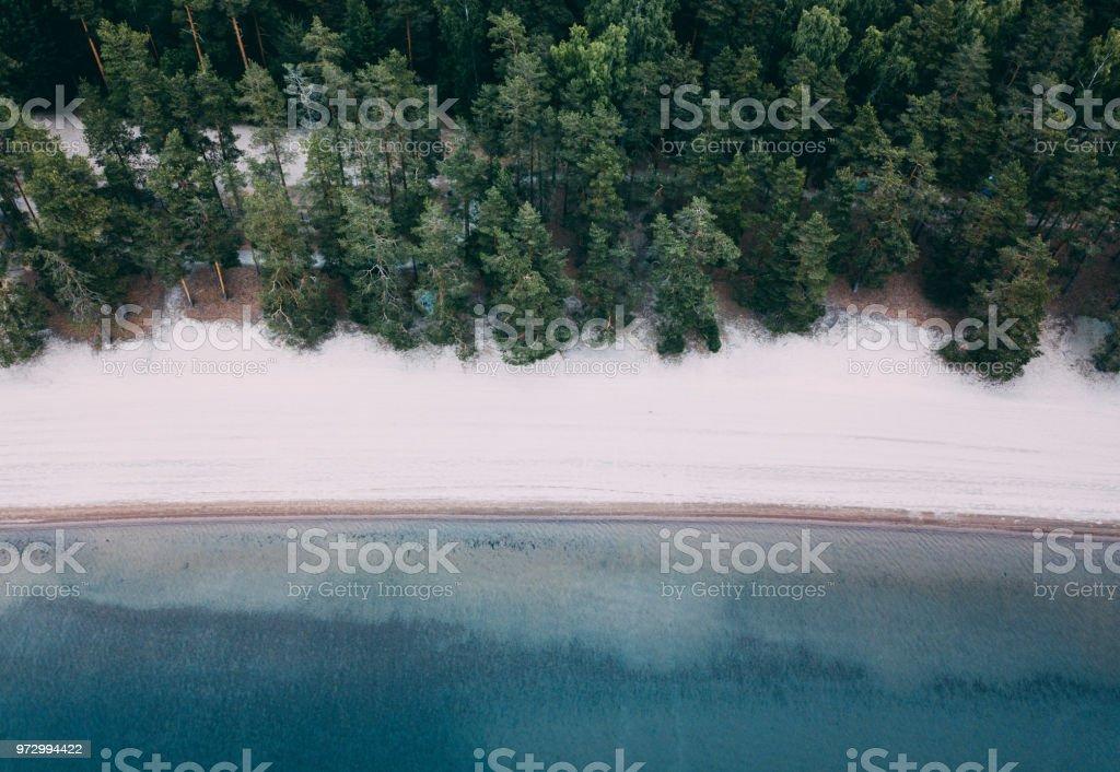 Aerial View Of Best Beach In Finland Near Helsinki Sääksjärvi Stock