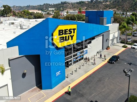 Aerial view of Best Buy multinational electronics store. . San Diego, California, USA, August 16th, 2020