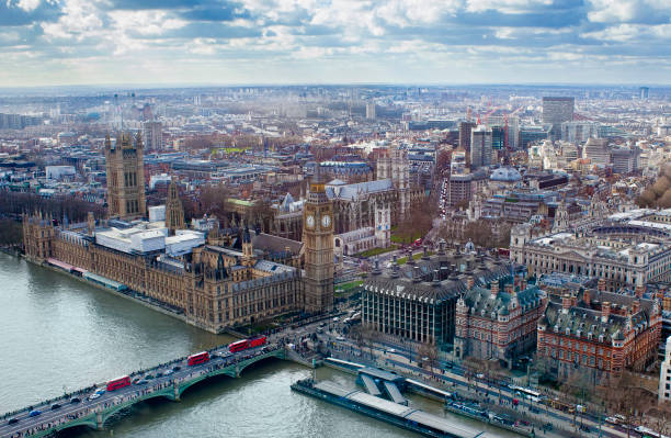 aerial view of Big Ben and London stock photo