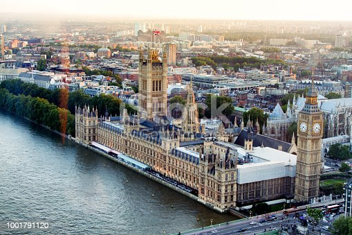 Aerial View of Big Ben and Parliament at Dusk on the River Thames
