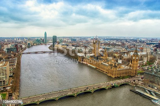 Aerial View Of Big Ben and Parliament House In London, UK