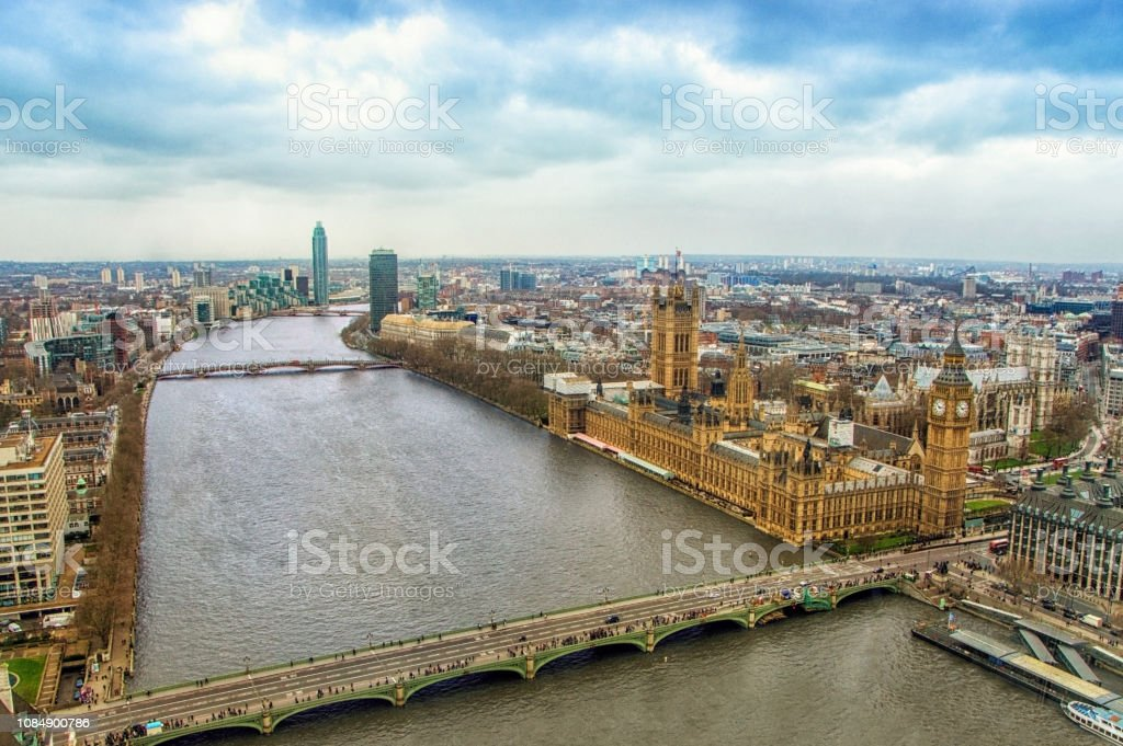 Aerial View Of Big Ben and Parliament House In London, UK stock photo