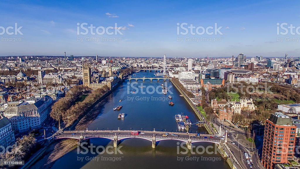 Aerial View Of Big Ben and River Thames In London stock photo
