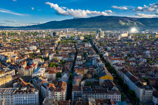 Aerial view of big city Large number of buildings and streets bulgaria stock pictures, royalty-free photos & images