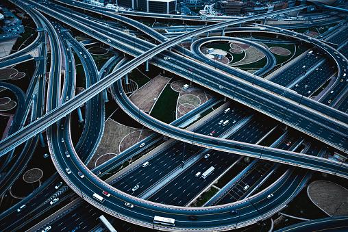 Highway junction viewed from Burj Khalifa, Dubai, UAE