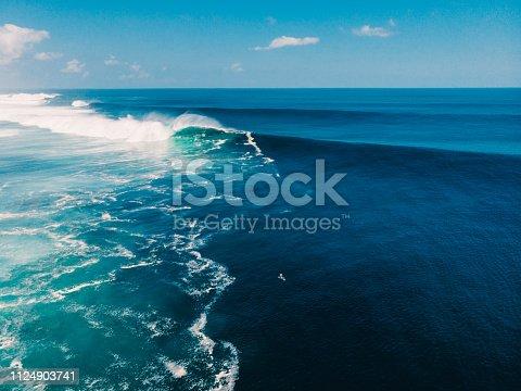 843079528istockphoto Aerial view of big wave surfing. Big waves in ocean 1124903741