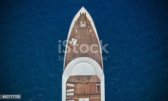 istock Aerial view of big yacht in sea 642777700