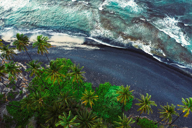 Aerial view of black beach of Kiholo Bay Big Island Hawaii Aerial view of black beach of Kiholo Bay Big Island Hawaii black sand stock pictures, royalty-free photos & images