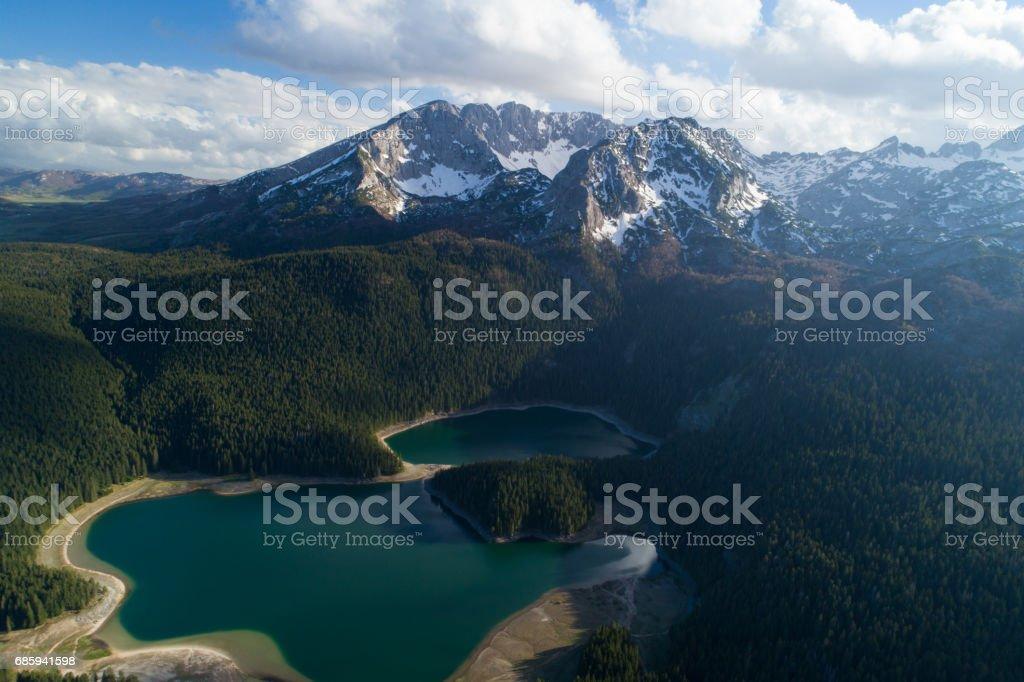 aerial view of Black Lake near Durmitor mountain stock photo