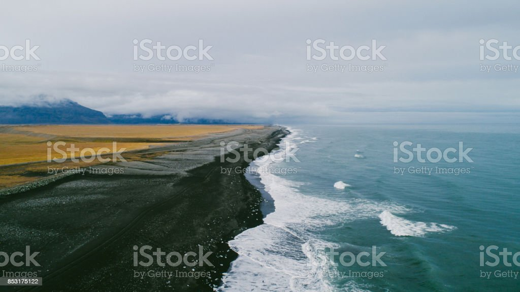 Aerial view of black sand beach in Iceland stock photo
