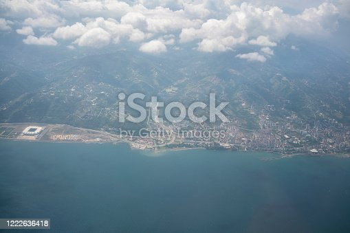 Aerial view of Black Sea Coast Above Clouds. Airplane flying over Giresun to Trabzon above clouds.