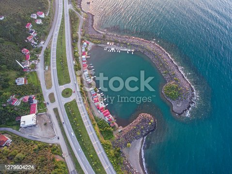 Aerial view of Black sea coastal road on a clear day.