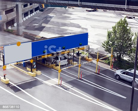 istock Aerial view of blank signs at entrance to terminal. 858738110