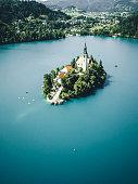 Aerial view of Bled Island, Slovenija