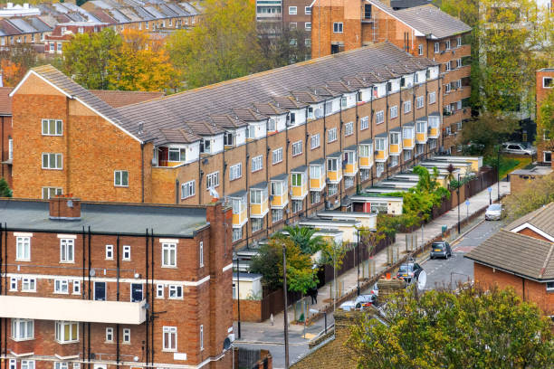 Aerial view of block of maisonette in south east London stock photo